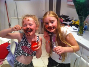 Young girls, chocolate and lots of, what else is going to happen?