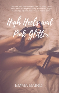 A book cover for High Heels and Pink Glitter by Emma Baird