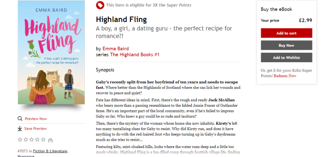 Kobo page for Highland Fling by Emma Baird