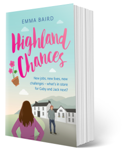 3D book cover for Highland Chances by Emma Baird feel good fiction stories